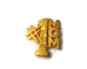 Number One Mom #1 Pinback Gold Mother Gift Lapel Pin Brooch Tie Tack Hat Pin
