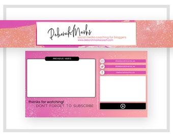Premade Youtube Banner Design | Custom Pink Youtube Banner | Fashion Channel Art | Beauty Vlog Banner | Pink Purple Banner Design