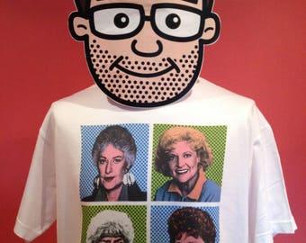 Golden Girls / Cheesecake / Pop Art T-Shirt - White Shirt (Bea Arthur / Betty White)