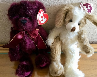 """Vintage TY Beargurduny and Scruffy Dog, 8.5"""" Tall, Excellent Condition"""
