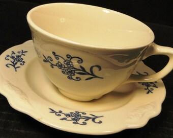 Homer Laughlin Dresden Imperial Blue Tea Cup Saucer Set EXCELLENT!