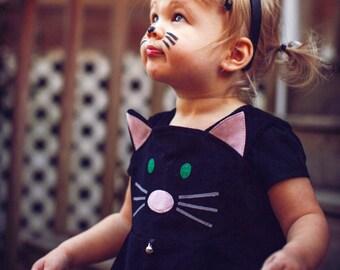 Girls cat dress ,girls cat costume , baby dress, toddler girls dress,pinafore dress for pretend play & Halloween