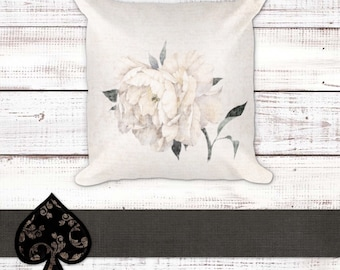 Peony | Throw Pillow | Home Decor | Shabby Chic | Accent Pillow | Farmhouse Decor | Decorative Pillow | Mother's Day Gift | Wedding Gift |