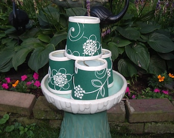 Green Crewel embroidered Lampshades