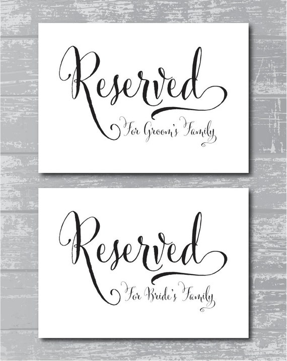 Instant download swash reserved for family signs 5x7 for Reserved seating signs template