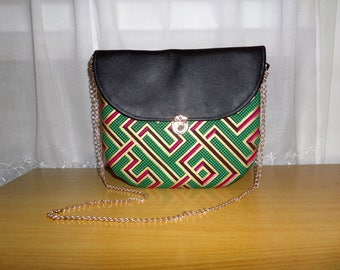 Bag Amy number 3: wax (Ankara) and leather satchel
