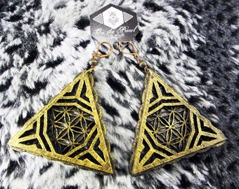 Triangle Geometry Earrings, Laser Cut Jewellery, Baltic Birch, Wood,  boho earrings, natural earrings, gift ideas, geometry jewelry