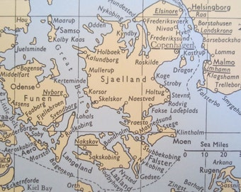 VINTAGE 1960s LLOYD's maritime map, ports, shipping - Baltic Sea, Bay of Biscay, Bordeaux, book page plate