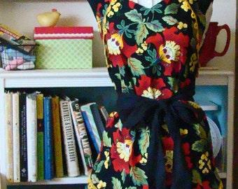Women's Full Apron Babushka or Red Riding Hood's Grandma Black Red Green Yellow
