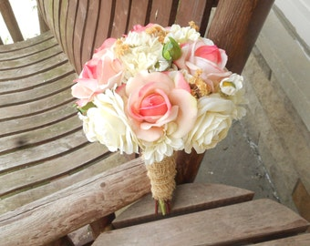Coral rose destination or beach wedding bouquet silk bridal pink rose and champagne rustic wedding bouquet silk bridal bouquet silk wedding flowers mightylinksfo Gallery