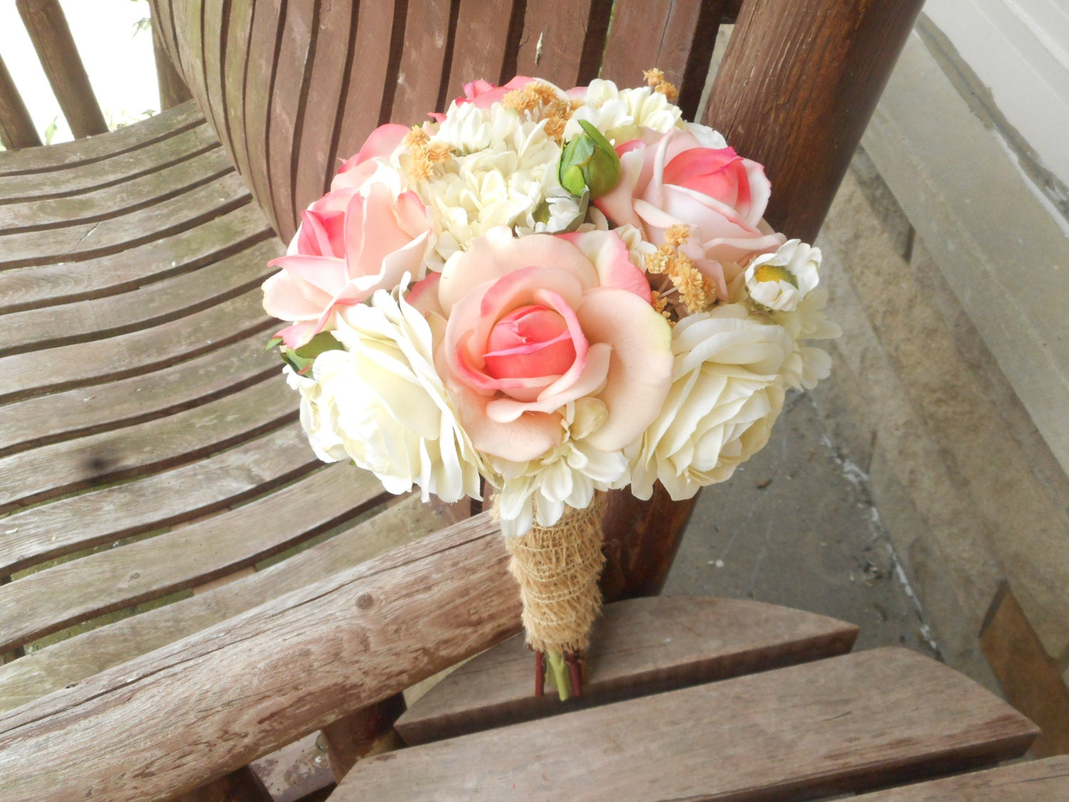 Pink Rose and Champagne Rustic Wedding Bouquet / Silk Bridal