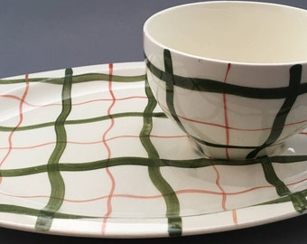 Midwinter Homeweave Green T.V Tray With Tea Cup