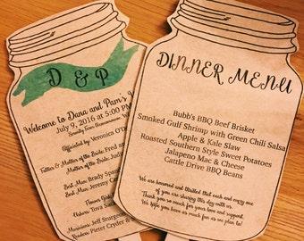 Kraft Wedding Programs, Wedding programs fans, Mason Jar Wedding Program Fans two sided- 50 fans