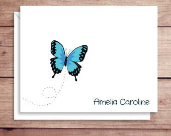 Butterfly Note Cards - Folded Note Cards - Personalized Children's Stationery - Thank You Notes - Illustrated Note Cards