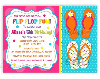 Fun Colorful Flip Flops Birthday Invitation (You Print)