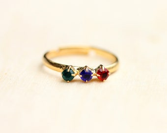 Crystal Bar Ring, bunte Ring, Kristall-Ring, Gold Kristall Ring, Kristall Band Ring, Bandring Gold Stein-Ring, verstellbar Kristall Ring