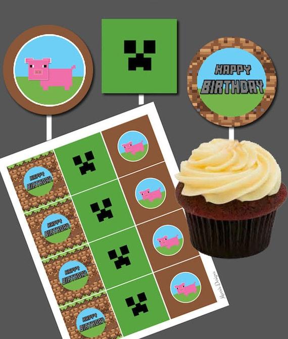 DIY Printable Boys Happy Birthday Cupcake Toppers Pig Farm