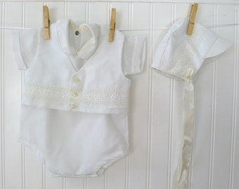 Vintage Baby Boy Suit with Hat, White Christening Bible Boy Outfit, Vest Bonnet, Size 0-6 months