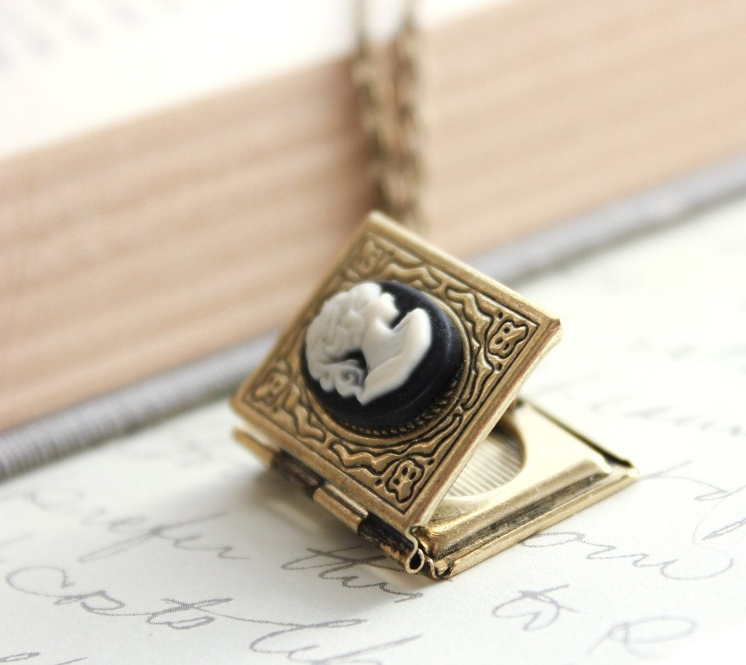 Book locket necklace black and ivory lady cameo necklace zoom aloadofball Gallery