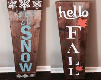 Reversible fall/winter sign