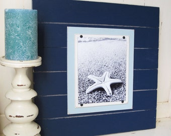 Navy Blue Distressed 8x10 Plank Frame 21X21