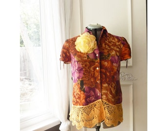 Upcycled Reworked blouse- short sleeve linen silk top - orange floral top, tangerine lace,  button down, small to medium, romantic, ooak