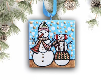 Snowman Ornament, Christmas Ornament, Christmas Decor Holiday Ornament, Handpainted Tree Ornament