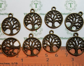 20 pcs per pack 20mm Filigree Tree Coin Charms Antique Bronze Lead free Pewter.