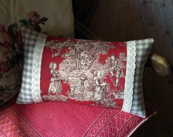French country cushion pillow new antique vintage fabrics Toile de Jouy brocante linen cotton lace red hand made in France