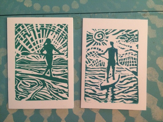 His and Hers SUP block print cards