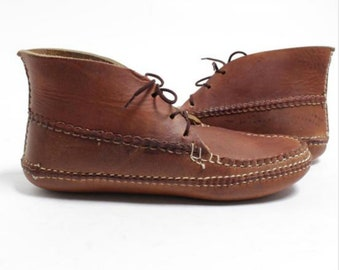 Carl dyers moccasins made in usa size 10 chukka lace boot handmade in usa arrow moccasin
