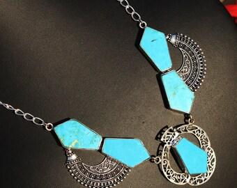 "24"" Long Turquoise Tie Shape Gemstone Necklace, Turquoise Silver Necklace, Gemstone Designer Necklace, Bohemian Tribal DP09"