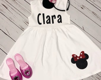 Personalized Dress, Personalized Minnie, Minnie Mouse Dress, Minnie Mouse, white dress, toddler dress, minnie dress, birthday dress, minnie