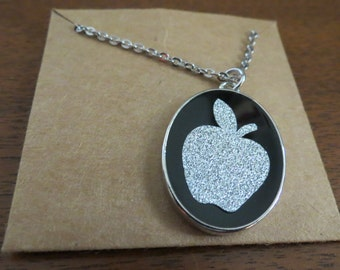 Silver Glittered Apple Pendant with Chain