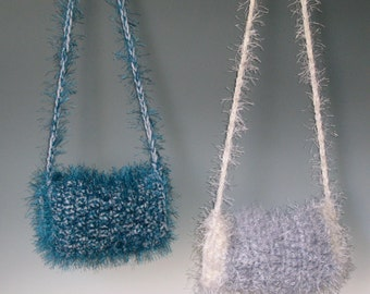 SALE LITTLE MISS MUFFEt Girl Muff  Choice of one - Gray and white - Blue - Crocheted - Strap to hang around neck Was 45.00