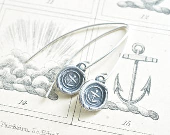 anchor wax seal drop earrings … hope and stability - nautical wax seal jewelry