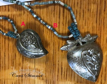 Antique Chinese Heart Pendant, Antique Chinese Ornament, Chinese Silver Pendant, Chinese Jewelry, Repousse Chinese, Free Shipping USA