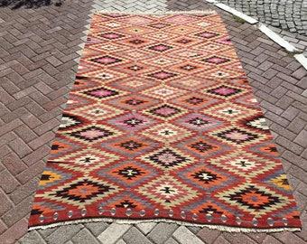 Diamond design Kilim rug,  115'' x 63'', Vintage Turkish rug, rugs, muted color area rug, kelim rug, vintage rug, bohemian rug, 724