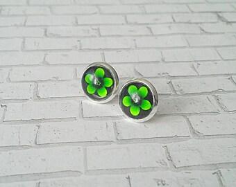 Lime Green Flower Stud Earrings, Green Flower Earrings, Gifts for her, Stud Earrings, Hypoallergenic, Flower Earrings, Dot Earrings