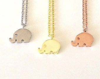 Elephant Necklace, in Solid Sterling Silver, Trunk Up for Good Luck and Fortune, An Everyday Affordable Necklace.