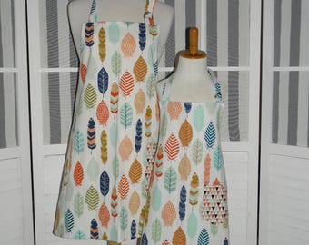 Whimsical Feathers Mommy and Me Matching Apron Set for Adult and Child - Free OR Priority Shipping