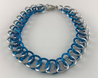 Sale 25% off Blue and Silver Half Persian Chainmaille Bracelet