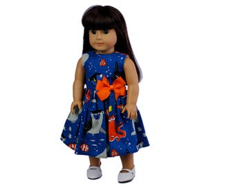 Doll dress  18 inch doll dress Made to fit all dolls like American Girl  18 inch doll clothes doll dress Nemo doll clothes