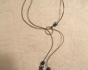 Essential oil/aromatherapy Tahitian pearls and lava bead lariat