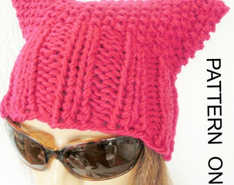 diy gift  Cat Hat Knitting Pattern  Pussy Hat  Pussy Cat Hat Pattern Instant Download Knit hat pattern- march , Permission to Sell Hat