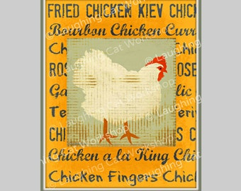 Funny Kitchen art chicken wall art Funny chicken art Rustic Country kitchen decor chicken wall art chicken kitchen folk art chicken  gift