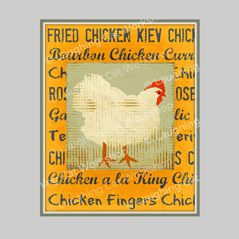 Funny Kitchen art chicken wall art Funny chicken art Rustic