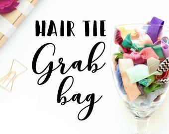 Grab Bag: 10 Handmade Hair Ties, Solid and Prints, Elastic--Good Value