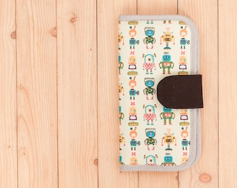 Handmade Travel Wallet with Robots Pattern