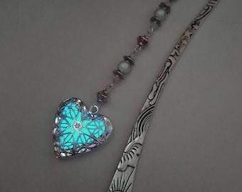 Aqua Glow In The Dark Bookmark - Heart Glowing Bookmark - Teacher Gift - Gifts For Her